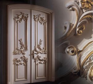Резные эмалированные двери из массива