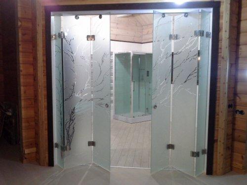 стеклянные складные двери