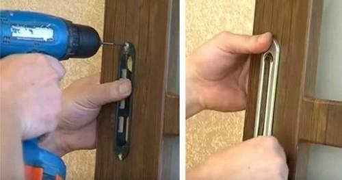 установка ручек на раздвижные двери
