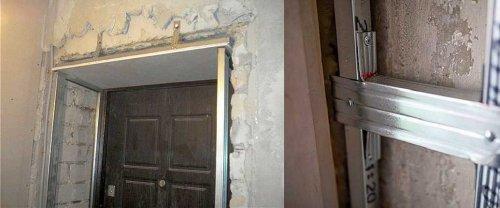 отделка проема входной двери гипсокартоном
