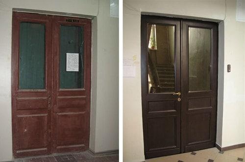 реставрация деревянной двери