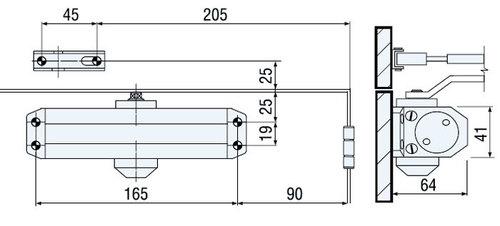 шаблон крепления дверного доводчика